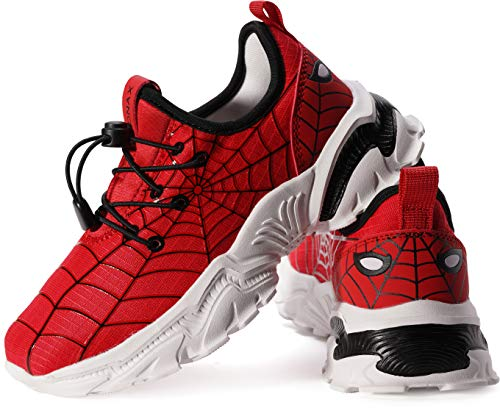 BRONAX Red Spider Shoes for Big Boys Size 3 Comfortable Light Running Athletic Sports Gifts Sneakers Snickers for Little Kids 36