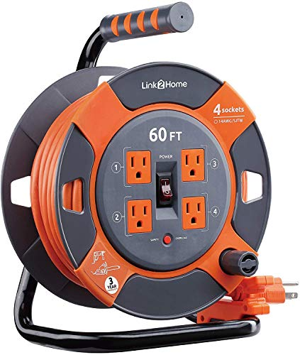 Link2Home Cord Reel Extension Cord 4 Power Outlets – 14 AWG SJTW Cable. Heavy Duty High Visibility Power Cord (60 Feet)