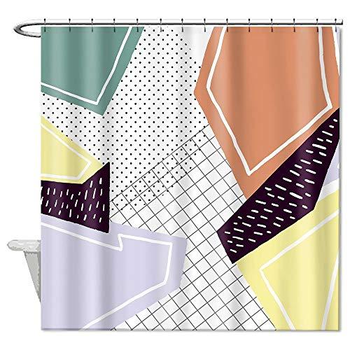 Owen Cocker Geometrischer Duschvorhang Triangel Grau Gelb Polyester 180 x 180 cm mit Duschvorhangringen