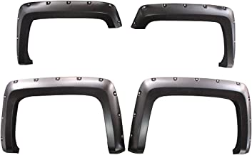 Fender Flares Compatible With 2014-2017 Chevy Silverado 1500 Long Bed Model | Pocket Rivet Style Matte Black Finish PP Front Rear Right Left Wheel Cover Protector Vent Trim by IKON MOTORSPORTS | 2015