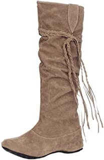 Ankle Mid Knee Boots Shoes Women, Riding Motorcycle Winter Thigh Chukka Martin Cowgirl Desert Tactical Lace Up Insoles Platform Size 3-7 (Color : Yellow, Size : 4.5 UK)