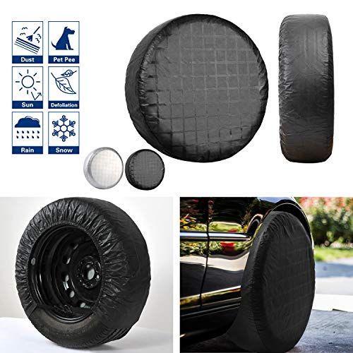 "VIEFIN Set of 4 Wheel Tire Covers for RV, Trailer, Truck, Camper, Motorhome, Van, Auto Car,PEVA Fabric, Waterproof Sun Rain Snow Protectors(PEVA-Black,Fit 27"" to 29"" tire Diameter)"
