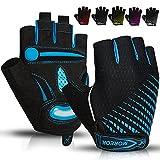 BIKINGMOREOK Cycling Gloves Half Finger Bike Gloves 5MM Liquid Gel Pads Bicycle Gloves Shock-Absorbing Mountain Bike Gloves Anti-Slip DH Road MTB Biking Gloves for Men Women-Blue-L