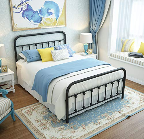 Metal Bed Frame Twin Size Headboard and Footboard The Country Style Iron-Art Double Bed The Metal Structure, Antique Bronze Brown Baking Paint.Sturdy Metal Frame Premium Steel Slat Suppot