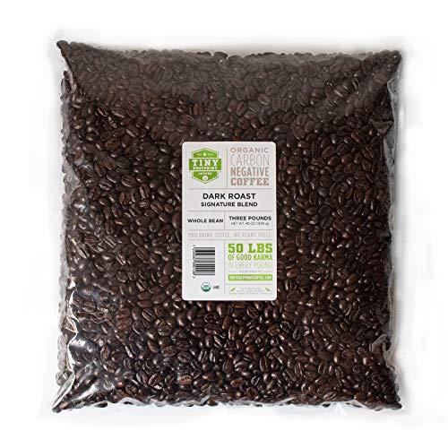 Tiny Footprint Coffee - Organic Signature Blend Dark Roast | Whole Bean Coffee | USDA Organic | Carbon Negative | 3 Pound