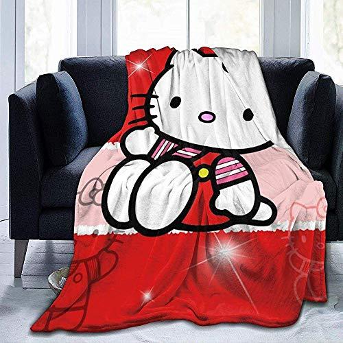 Not applicable Hello Kitty Cartoon Anime Cute Cat Red Throw Blanket Colchas de Microfibra Mantas de vellón Ultra Suave Coral Funda de Cama para Dormitorio Sala de Estar Sofá Sofá 60x50 Pulgadas