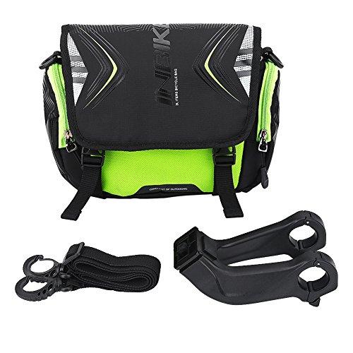 Bolsa de Manillar de Bicicleta Bolsa Delantera Impermeable para Bicicleta Bolso con Correa para Hombro con Soporte Cubierta de Lluvia Accesorio de Bicicleta(verde)