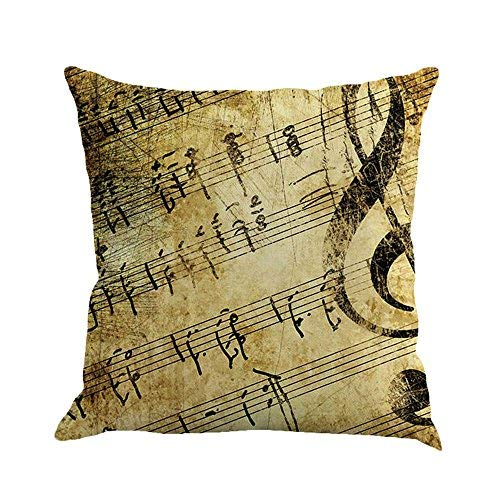 Piano Musical Throw Pillow Covers Cushion Case Home Decor for Livingroom Sofa Car Bedroom With Invisible Zipper 18x18 Inches