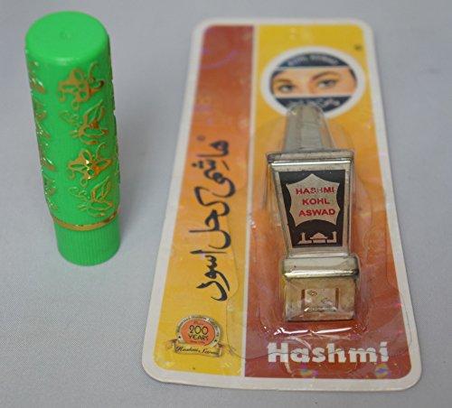 pack 1 pintalabios mágico sin aroma con pegatina 33 TAIWAN autentico + 1 khol árabe delineador,kajal natural con aplicador integrado (polvo, negro)