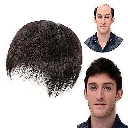 Capelli per uomo Toupee uomo capelli nero naturale corto Topper Parrucche vero e proprio toupee di capelli umani clip (nero, 16cm x 18cm)