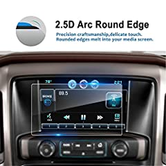 🚘 SIZE: 6.77*4.06 INCH, Length*Width, NOT EDGE TO EDGE DESIGN, FOR 2014-2019 2020 SILVERADO 1500 / 2500HD /3500HD 8 Inch accessories, NOT for 7 Inch, Tempered Glass Car Navigation Screen Protector 🚘 0.26MM Thickness, 2.5D Round Edge delicate touch, 9...