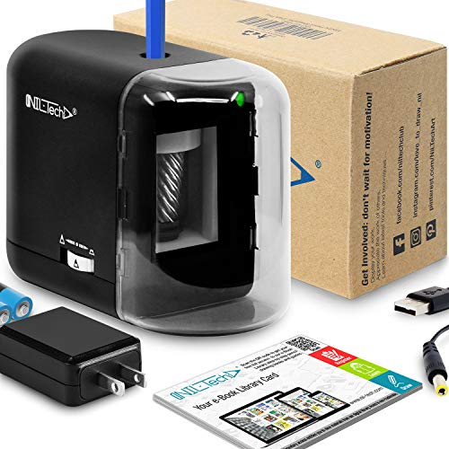 Electric Pencil Sharpener - Added BONUS of Drawing Tutorials Digital Library. Portable Heavy Duty Multi Powered AC Plug In And Battery Operated. For Artist, Art Classroom, Office, Small Kids