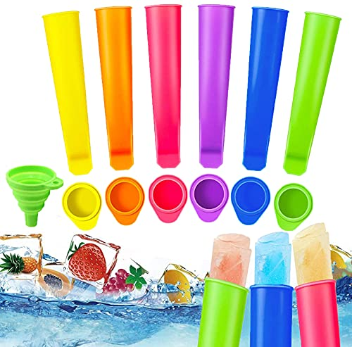 SunAurora 6 PCS Moldes Helados de Silicona, Reutilizable Moldes para Paletas de Hielo con Tapas, Multifuncional Popsicle Moldes, sin BPA, con 1 Plegable Embudo