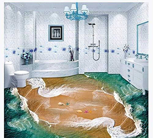 3D Effekt Wohnzimmer Bodenaufkleber3D Wallpaper 3D Effect Living Roombeautiful Sea View Beach Spray Starfish Shell 3D Floor-200 * 140Cm