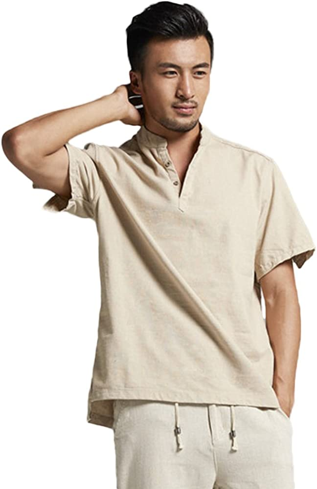 Chickle Men's Casual Solid Cotton Short Sleeve Pullover Henley Shirt