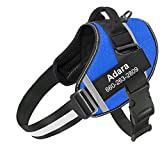 Custom Dog Harness,Personalized Pet Dog Vest with Names and Phone Number,No-Pull Service Dog Harness with Handle Adjustable Outdoor 3M Reflective Vest Easy Control for Small Medium Large Breeds