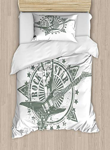 Ambesonne Guitar Duvet Cover Set, Stars with Rock Sign Monochrome Musical Instrument Design Rockstar Life Singing, Decorative 2 Piece Bedding Set with 1 Pillow Sham, Twin Size, Grey White
