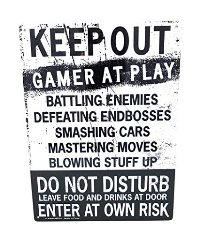 Kalan Keep Out Gamer at Play Enter at Own Risk Funny Novelty Tin Sign (Standard Version) Pack of 2