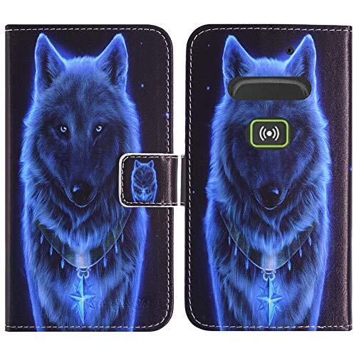 TienJueShi Wolf Flip Stand Brief Leder Tasche Schütz Hülle Handy Case Für Doro Secure 580IUP Abdeckung Fall Wallet Cover Etüi