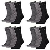 12 Paar Puma Sportsocken Tennis Socken Gr. 35 - 49 Unisex für sie und ihn, Socken & Strümpfe:39-42, Farbe:207 anthracite / grey