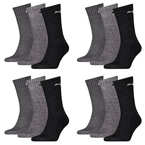 12 Paar Puma Sportsocken Tennis Socken Gr. 35 - 49 Unisex für sie und ihn, Socken & Strümpfe:47-49, Farbe:207 anthracite / grey