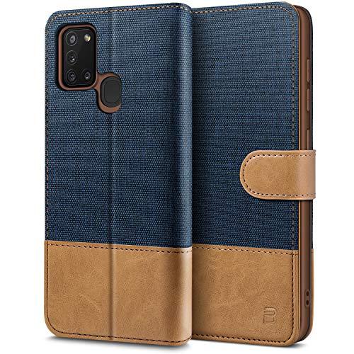 BEZ Handyhülle für Samsung A21s Hülle, Tasche Kompatibel für Samsung Galaxy A21s, Schutzhüllen aus Klappetui mit Kreditkartenhaltern, Ständer, Magnetverschluss, Blaue Marine