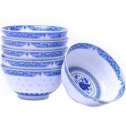 DWW Blue White Chinese keramische kommen set van 6-5 inch porseleinen slakom, soepkom met bloemenpatroon, voor oven, vaatwasser, magnetron