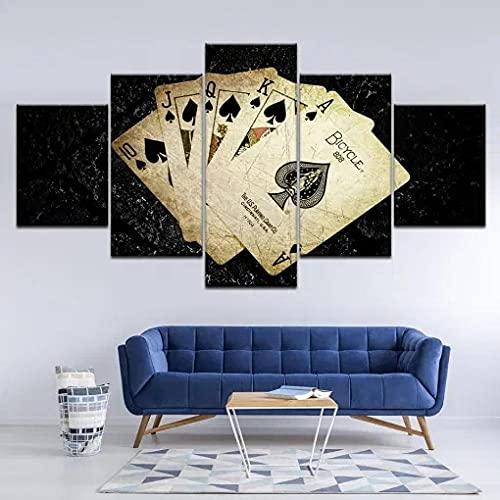 GHYTR Imagen sobre Lienzo Cuadros Abstractos Modernos XXL Poster 5 Piezas Cartas De Póquer Arte De Pared Imágenes Modulares Sala De Estar Decoración para El Hogar 150X80Cm