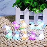 Easter Decorations, Bunny String Lights Battery Operated 10 Ft 40 LED Rabbit Waterproof Fairy Lights for Easter Eggs Hunt Party Spring Indoor/Outdoor Home Bedroom Garden Wedding Decor