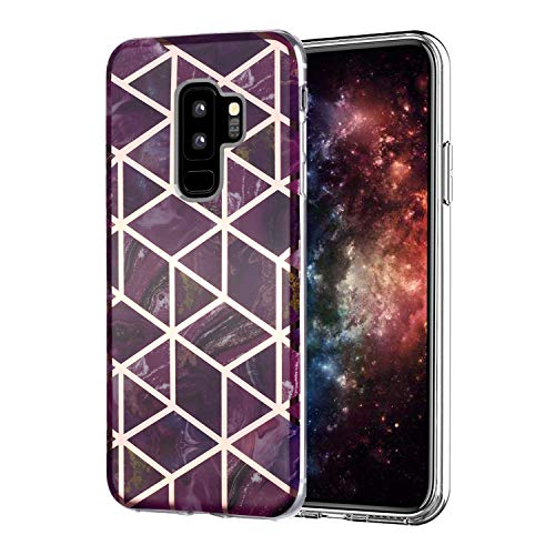 Misstars Hülle für Galaxy S9 Plus, Bling Glitzer Geometrischer Marmor Muster TPU Silikon Weiche Schutzhülle Slim Handyhülle Kompatibel mit Samsung Galaxy S9 Plus, Lila