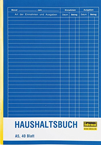 Idena 314252 - Haushaltsbuch, DIN A5 doppelseitig, holzfreies Papier, 40 Blatt (3er Pack)