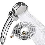 シャワーヘッド EocuSun 節水 低水圧増圧 軽量 極細水流 ストップボタン付き シャワーホース付き 国際汎用基準G1/2 工具不要 取付簡単 バス用品