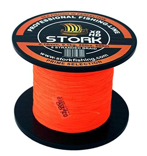 Stork HDx8, 8-Fach geflochtene premium Angelschnur 600m (Orange, 20 lbs / 9.1 kg / 0.18 mm)