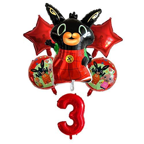 ZWYCEX Globos 6 nuevos Globos de Aluminio Animales Conejo de Dibujos Animados al por Mayor de Bing Globos de la Hoja Fiesta de cumpleaños decoración con Globos ( Size : Red3 )