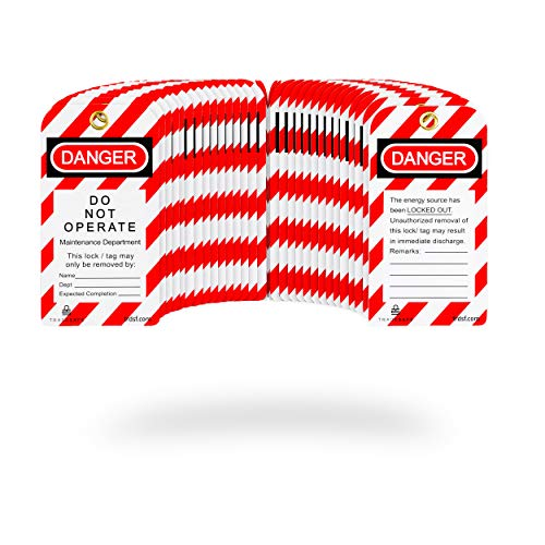 TRADESAFE - Etiqueta de bloqueo (30 unidades, 15 mil nailon de alta calidad con cierre de cremallera), diseño con texto en inglés'Danger Do Not Operate Loto Tag'