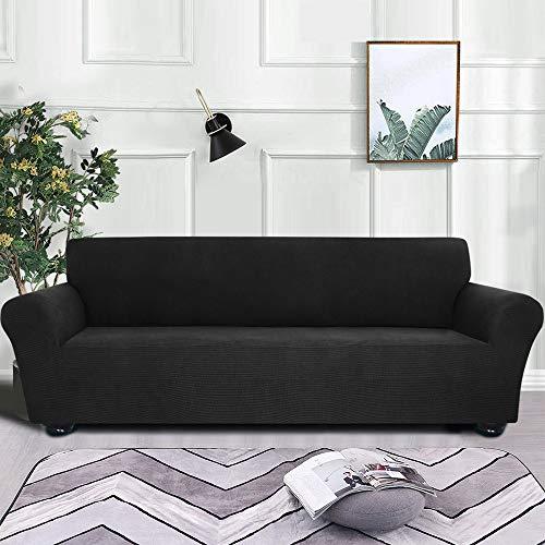 mewmewcat - Funda de sofá, jacquard, elástica, elastano, antideslizante, para sofá de 4 plazas, lavable, para salón, niños, mascotas, poliéster, 4 Black