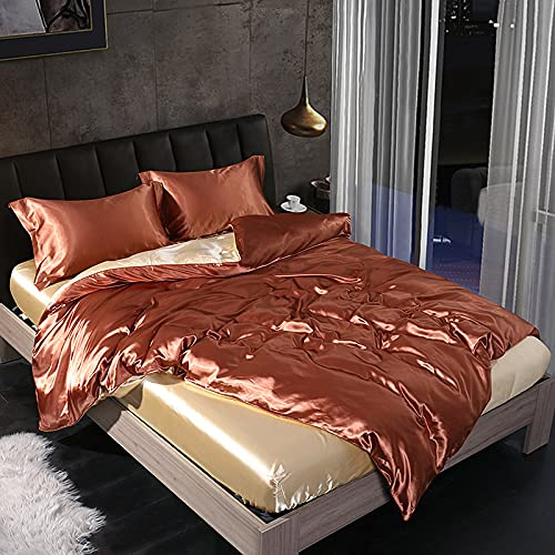 ALRZ Juego de sábanas de seda de 4 piezas de estilo europeo de seda funda de edredón de verano de seda de hielo sábanas planas de seda colcha sábanas sábanas