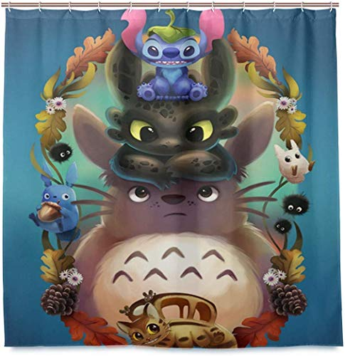 BNSDMM Cortinas de Ducha Totoro Dragon Spirited Away Cat Personality 180X200Cm