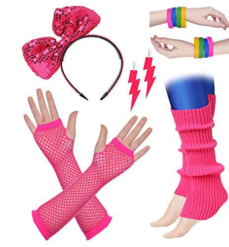 ArtiDeco Damen 80er Jahre Zubehör 1980s Disco Party Kostüm Outfit Zubehör Set inklusive Stirnband Ohrringe Armbänder Beinlinge Fischnetz Handschuhe (Set-6)