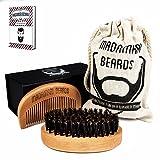 Bartbürste & Bartkamm - Hochwertiges Bartpflege-Set - Wildschweinborsten -MADAMARI BEARDS - Perfekte Kombination für den modernen Mann -Reiseset mit Magnetbox und Beutel - Stylische Geschenkidee
