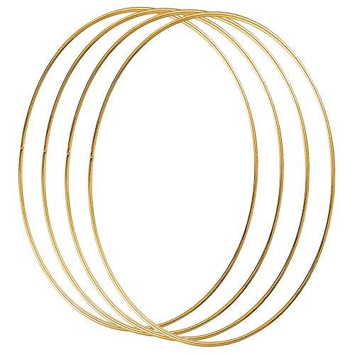 Celyoce 4 Stück 30cm Metallring Gold, Metall Ringe Hoops für Traumfänger Ring, Makramee Ring, Floristik