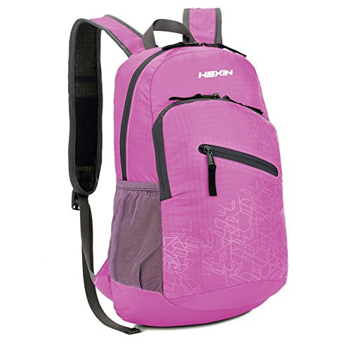 HEXIN Water Resistant Rated 20L/33L Lightweight Foldable Backpack Hiking Daypack Pink