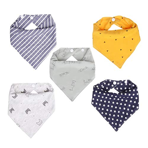 5 Stücke Baby Dreieckstuch Lätzchen 100% Baumwoll Nabance Saugfähig Baumwolle Unisex Lätzchen Einstellbar Spucktuch Lätzchen Halstücher Super Saugfähig und Weich 6-36 Monates