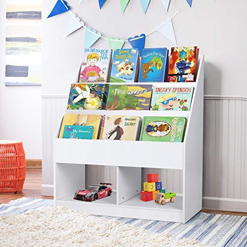 amzdeal Kids Bookshelf Book Rack with Toy Storage, Children's Bookcase for Reading Room Nook Nursery Kindergarten Preschool
