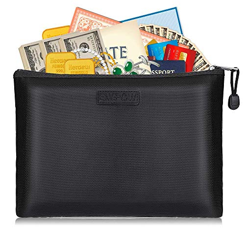 """ENGPOW Fireproof Safe File Bags A4 Size Zipper Closure Business Document Organizer Portable Filing Pouch Office Stationery Storage Fire and Water Resistant Money Bag 13.5""""×9.8"""