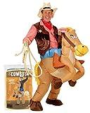 Original Cup - Disfraz hinchable de Cowboy de calidad premium, disfraz de adulto de poliéster, cómodo de llevar y resistente, sistema de inflado incluido.
