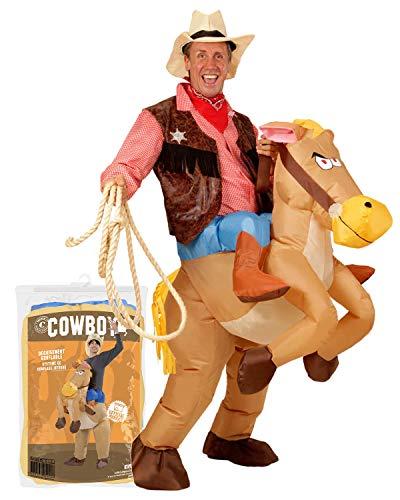 Original Cup - Disfraz hinchable de Cowboy de calidad premium, disfraz de adulto de polister, cmodo de llevar y resistente, sistema de inflado incluido.