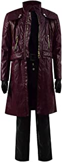 Dahee Dante Costume Mens Red Deluxe Leather Jacket Full Set Outfits for Halloween