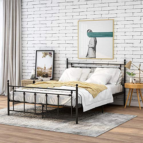 Tweepersoonsbed metalen bed 140x200 cm zwart op stalen frame met hoofdeinde design jeugdbed logeerbed, zwart