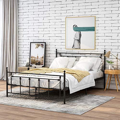 Telaio letto in metallo di alta qualità, 140 x 200 cm, nero, su telaio in acciaio con rete a doghe, struttura letto matrimoniale con testiera